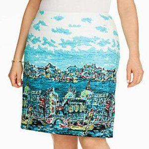 NWOT Talbots Venice Print Stretch Cotton Skirt 16P